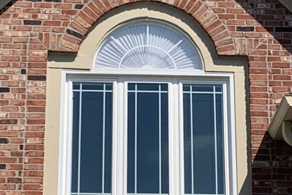Triple Casement Window with Perimeter Grids and Half Round Above