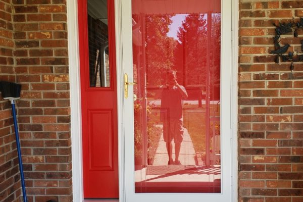 Beautiful Candy Apple Red Entry Door with 1 Sidelight and Storm Door