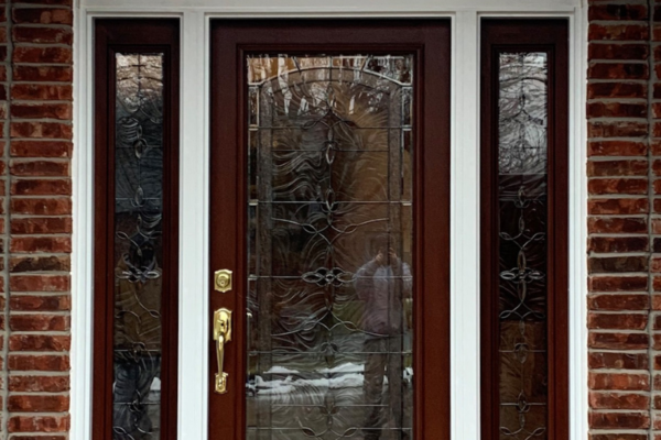 Woodgrain Entry Door with Sidelights and Transom Above Door