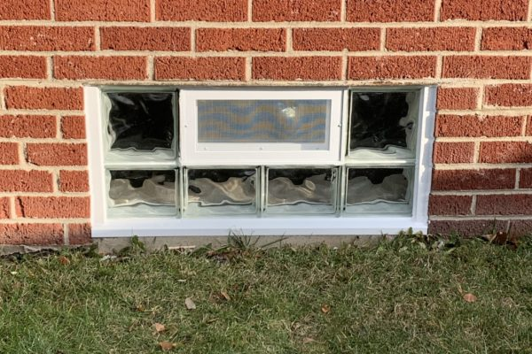 Glass Block Window with Vent
